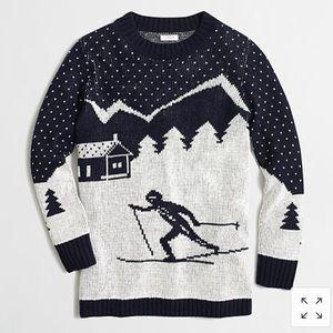 J Crew Intarsia ski scene sweater